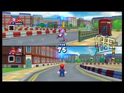 A screen shot of gameplay in Mario and Sonic at the 2012 Olympic Games