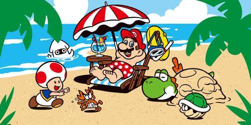 Mario, Toad, Yoshi, a Koopa Troopa and a Blooper at a beach.