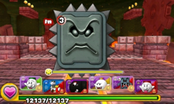 Screenshot of World 3-Castle, from Puzzle & Dragons: Super Mario Bros. Edition.