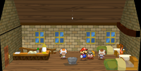 A Toad, Mario, Goombella and Toadsworth in the Rogueport Inn.