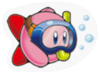 A Sticker of Kirby diving.