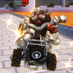 Dry Bowser performing a Trick in Mario Kart Wii