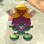 Wario performing a trick. Mario Kart 8.