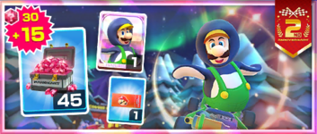 The Penguin Luigi Pack from the 2nd Anniversary Tour in Mario Kart Tour