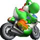 Artwork of Yoshi on his Mach Bike, from Mario Kart Wii
