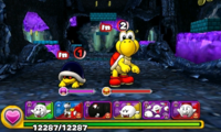 Screenshot of World 2-1, from Puzzle & Dragons: Super Mario Bros. Edition.