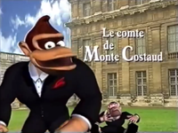 """Skit title screen of """"Le comte de Monte Costaud"""" from La planète de Donkey Kong."""