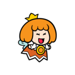 Happy orange Sprixie Princess stamp from Super Mario 3D World + Bowser's Fury.
