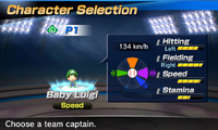 Baby Luigi's stats in the baseball portion of Mario Sports Superstars