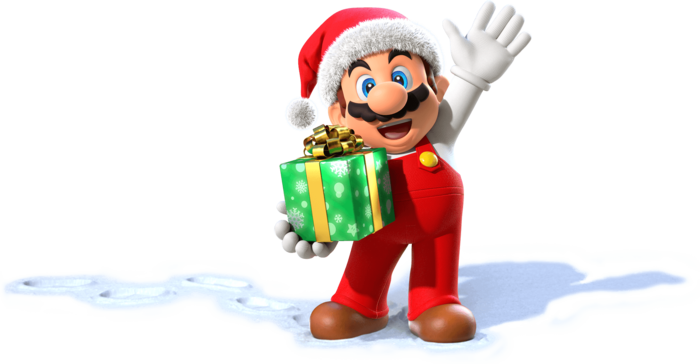 Mario in a Christmas outfit