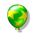 Artwork of a green Item Balloon from Diddy Kong Racing DS