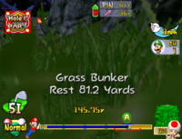 A grass bunker in Mario Golf: Toadstool Tour.