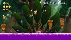 Screenshot of Dancing Blocks, Poison Swamp in New Super Luigi U.