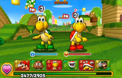 Screenshot of Intro, from the demo version of Puzzle & Dragons: Super Mario Bros. Edition.