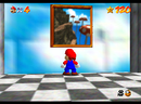 Mario facing the picture of Tall, Tall Mountain