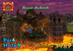 A screenshot of the intro video of hole 9 from bowser badland