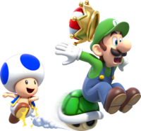 Artwork of Blue Toad and Luigi, from Super Mario 3D World.