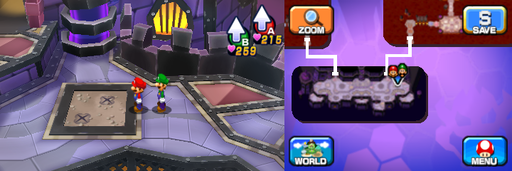 Location of the twelfth and thirteenth beanholes in Neo Bowser Castle (Dream Team's version).