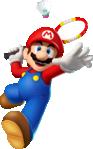 Mario playing badminton