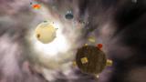 "A screenshot of Battle Belt Galaxy during the ""Mini-Planet Mega-Run"" mission from Super Mario Galaxy 2."