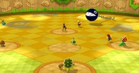 An overview of Bowser Jr. Playroom stadium from Mario Super Sluggers