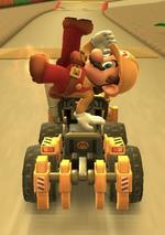 Builder Mario performing a trick.