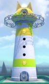 An activated lighthouse in Super Mario 3D World + Bowser's Fury