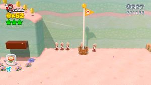 Location of the Luigi hidden in Double Cherry Pass in Super Mario 3D World.