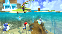 Mario near some Penguins in the Beach Bowl Galaxy