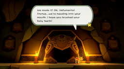 Mario and Olivia inside the Earth Vellumental Temple in Paper Mario: The Origami King