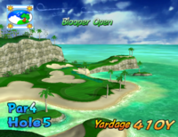 The fifth hole of Blooper Bay from Mario Golf: Toadstool Tour.