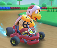 The icon of the Waluigi Cup challenge from the Wild West Tour in Mario Kart Tour.