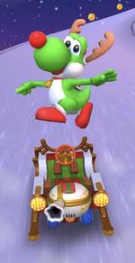 Yoshi (Reindeer) performing a trick.