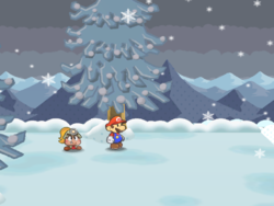 Screenshot of Mario at a hidden ? Block location in Fahr Outpost, in Paper Mario: The Thousand-Year Door.