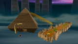 """A screenshot of Slipsand Galaxy during the """"Sailing the Sandy Seas"""" mission from Super Mario Galaxy 2."""