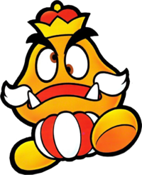Artwork of the Goomba King from Paper Mario