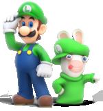 Artwork of Luigi and Rabbid Luigi for Mario + Rabbids Kingdom Battle