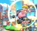 The icon of the Peachette Cup challenge from the Tokyo Tour in Mario Kart Tour.