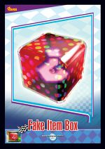 The Fake Item Box card from the Mario Kart Wii trading cards