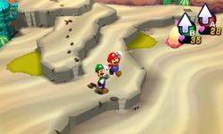 Screenshot of Dozing Sands, from Mario & Luigi: Dream Team