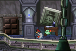 Mario and Lady Bow inside of Boo Mansion.
