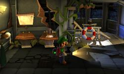 The West Bathroom segment from Luigi's Mansion: Dark Moon.