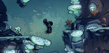 Concept artwork, unlocked in the Extras menu after collecting all Puzzle Pieces in Crumble Cavern
