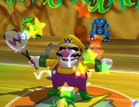 Wario using the Thunder Cast Shot in Mario Power Tennis