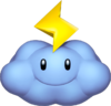Artwork of a Thunder Cloud from Mario Kart Wii.