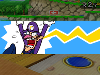 Waluigi being hit by a Lightning Bolt from Coinathlon in Mario Party: Star Rush