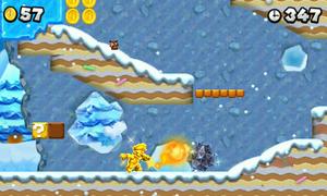 Gold Mario, throwing golden fireballs, at World 4-1.