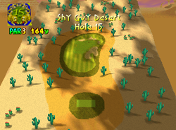 Hole 15 of Shy Guy Desert from Mario Golf