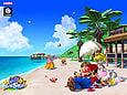 A Super Mario Sunshine wallpaper of Mario, Princess Peach, and Toadsworth resting on Gelato Beach.