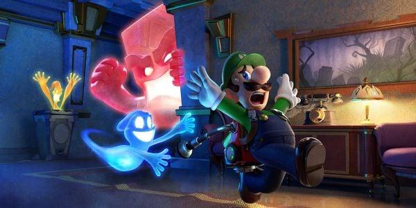 Artwork of Luigi running from ghosts of multiple types from Luigi's Mansion 3. Original filename: <tt>2x1_SpookyGhost_Poll_v01.0290fa98.jpg</tt>
